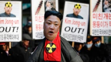 An effigy of North Korea's leader Kim Jong-un is on display during a protest a day after the country conducted its third nuclear test on Feb. 12.