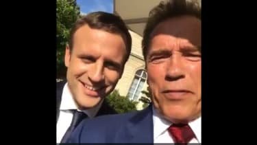 Former governor of California (and Terminator star) Arnold Schwarzenegger and new French President Emmanuel Macron