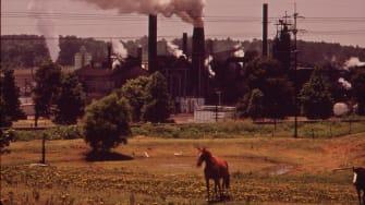 Smoke stacks, early 1970s.