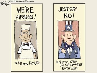 Editorial Cartoon U.S. unemployment benefits