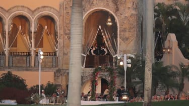 The terrace at Mar-a-Lago where President Trump dealt with his first national security crisis