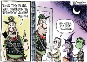 Editorial Cartoon U.S. Halloween militia masks