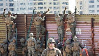 U.S. Marines at the United States-Mexico border.