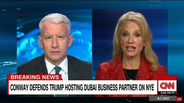 Anderson Cooper and Kellyanne Conway spar over Donald Trump toast