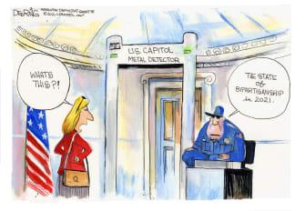 Political Cartoon U.S. senate metal detector bipartisanship