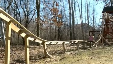 A backyard roller coaster built by two teenagers.