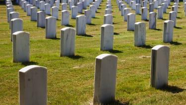 Rows of gravestones.