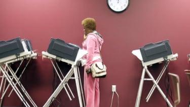 Voting machines in Toledo, Ohio during the 2008 election.