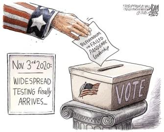 Political Cartoon U.S. coronavirus testing vote 2020 election