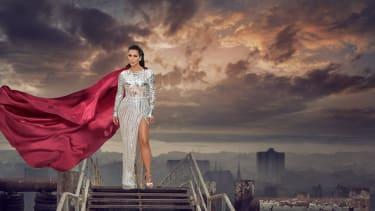 Kim Kardashian in a cape.