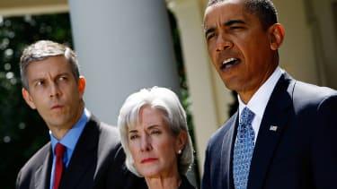 President Obama, forer HHS Secretary Kathleen Sebelius, and former Education Secretary Arne Duncan.