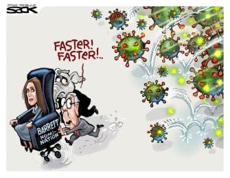 Political Cartoon U.S. McConnell Barrett SCOTUS COVID