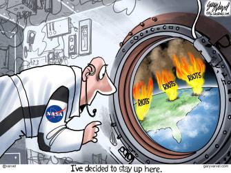 Editorial Cartoon U.S. NASA spacex George Floyd protests