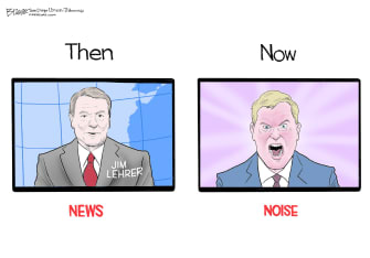 Editorial Cartoon U.S. Jim Lehrer PBS broadcast journalism talking heads aggression