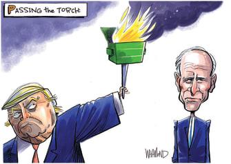 Political Cartoon U.S. Trump Dumpster Fire Biden Passing the Torch