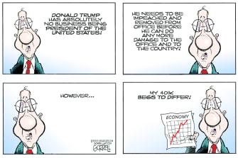 Political Cartoon U.S. Trump economy 2020
