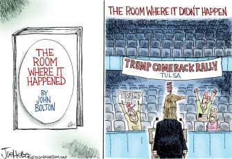 Political Cartoon U.S. Trump Tulsa rally bolton book