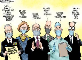 Political Cartoon U.S. trump pandemic officials silence