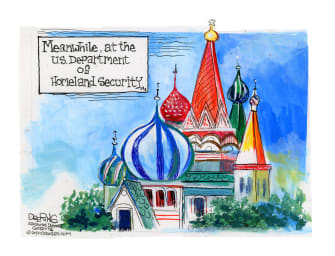 Political Cartoon U.S. Russia DHS