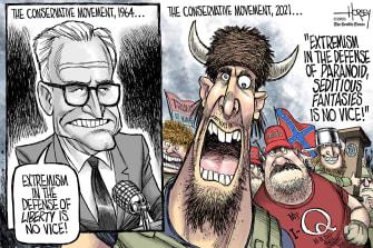 Political Cartoon U.S. GOP conservatives capitol riot