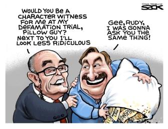 Political Cartoon U.S. Giuliani Lindell mypillow