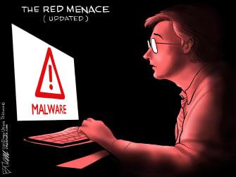 Editorial Cartoon U.S. Russia Hacking red menace