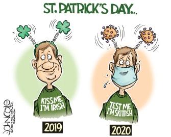Editorial Cartoon U.S. St. Patrick's Day Coronavirus testing skittish celebration