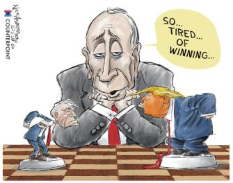 Political Cartoon U.S. Bloomberg Sanders Trump 2020 election chess