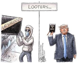 Political Cartoon U.S. Trump looters George Floyd Bible photo op