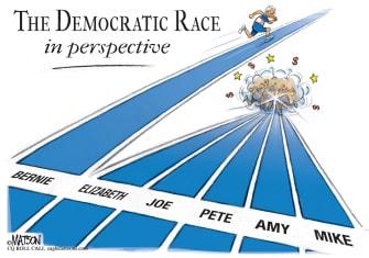 Political Cartoon U.S. democratic race Bernie Sanders frontrunner nominees squabble