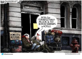 Political Cartoon U.S. biden homeless veterans border migrants