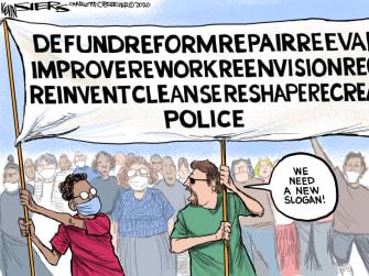Editorial Cartoon U.S. defund police George Floyd protests