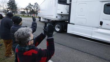 A truck of Pfizer coronavirus vaccines.