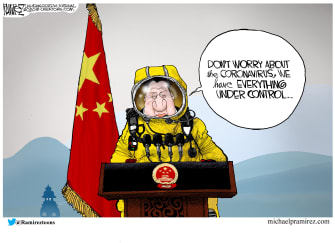 Editorial Cartoon World China Peoples Republic coronavirus hazmat suit quarantine
