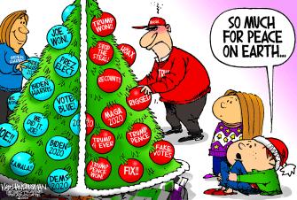 Political Cartoon U.S. Biden Trump Christmas