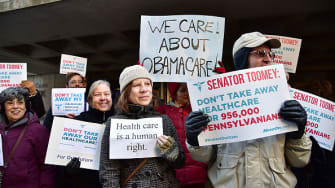 A rally in support of the Affordable Care Act in Philadelphia, Pennsylvania.