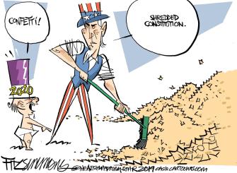 Political Cartoon U.S. 2020 Confetti US Constitution Shredded