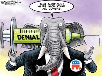 Political Cartoon U.S. gop trump covid vaccine
