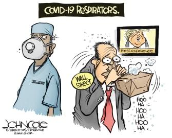 Political Cartoon U.S. Trump Wall Street COVID-19 masks respirators stock market