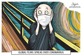 Editorial Cartoon World Coronavirus The Scream global fear