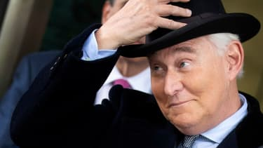 Roger Stone leaves Federal court in 2020.