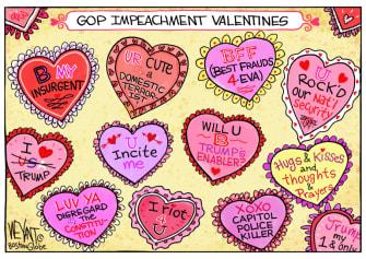 Political Cartoon U.S. Trump gop impeachment valentines