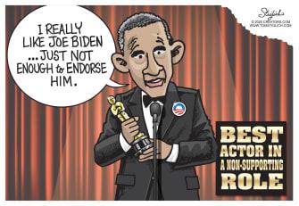 Political Cartoon U.S. Obama Oscars Joe Biden endorsement