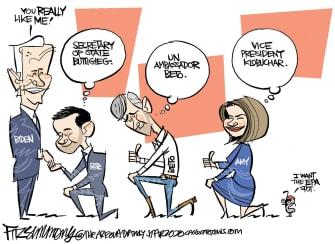 Political Cartoon U.S. Joe Biden Pete Buttigieg Amy Klobuchar Beto O'Rourke democratic primaries endorsements