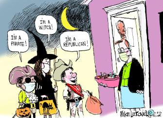 Editorial Cartoon U.S. Halloween Republicans cowboy