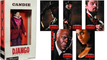 The lecherous, slave-master Candie doll and the other Django action figure options.