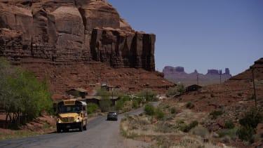 A school bus in the Navajo Nation.