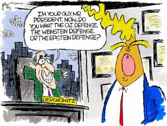 Political Cartoon U.S. Trump impeachment trial dershowitz