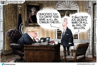 Political Cartoon U.S stimulus checks Trump signature compromise Biden elected