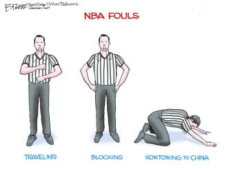 Political Cartoon U.S. NBA Kowtowing To China